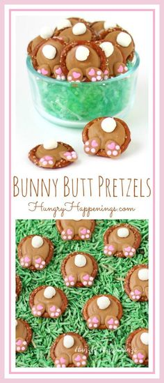 How cute are these Peanut Butter Bunny Butt Pretzels? Each bite sized Easter treat is salty and sweet and so much fun to eat.