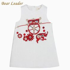 Princess Dresses Sleeveless White Wheels Print Design for Girls Clothes Children Dress 3-8Y $21.78 => Save up to 60% and Free Shipping => Order Now! #fashion #woman #shop #diy www.bbaby.net/...
