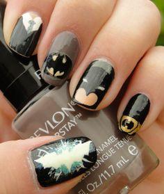 Batman Nails  | See more nail designs at http://www.nailsss.com/acrylic-nails-ideas/2/