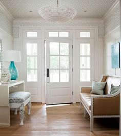 love the light fixture, looks like it will spread sparkle through the space. Also like how the ceiling & upper walls have special treatment - either drawing eye up to fixture, or keeping your attention up their once eye is drawn up :)