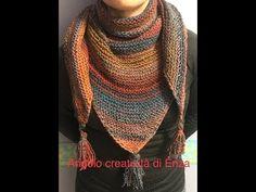 "Scialle ""Baktus"" ai ferri con nappine 🧶 Maglia facile - YouTube Crochet Basket Pattern, Knit Crochet, Kimono, Knitting, 3, Youtube, Handmade, Fashion, Cowl"