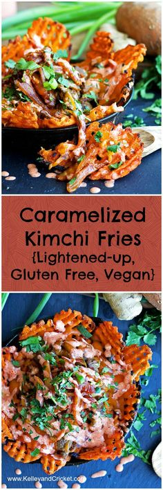 Sweet potato waffle fries topped with melty cheese, caramelized kimchi, and chili mayo-lightened-up, gluten free and vegan! A food truck fav!