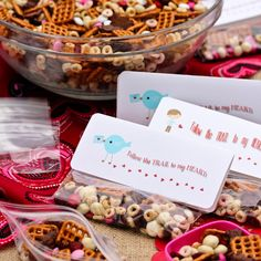 Recipe: Homemade Trail Mix ~ Valentine Snack  Ingredients        4 cups miniature pretzels      4 cups Strawberry Yogurt Cherrios (or favorite cereal)      3 cups (1 box) Chocolate Teddy Grahams      2 cups dried cherries or cranberries      2 cups yogurt covered raisins      2 cups Valentine M.