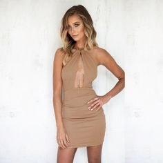 (12.63$)  Watch here - http://aie7e.worlditems.win/all/product.php?id=G8855BE-L - Women Pencil Dress Solid Color Halter Neck Deep Plunge Backless Sexy Nightclub Party One-Piece Black/Apricot