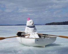 Snowman in a boat I Love Snow, Snow Much Fun, I Love Winter, Winter Fun, Winter Snow, Funny Snowman, Cute Snowman, Prior Lake, Snow Sculptures