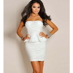 White Strapless Corrugated Peplum Dress