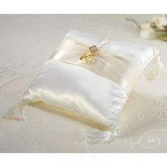 This ring pillow is covered in creamy ivory satin. An ivory satin and sheer ribbon decorates the front, complete with gold rhinestone diamond orna Ring Pillows, Ring Bearer Pillows, Gold Pillows, Wedding Rings Online, Diamond Wedding Rings, Diamond Rings, Gold Rings, Lillian Rose, Wedding Pillows