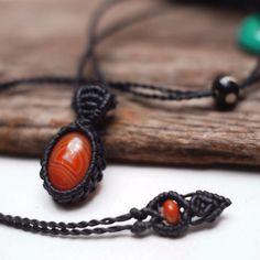 Macrame Necklace Pendant Cabochon Agate Stone Quartz Cotton Waxed Cord Handmade #Handmade #Pendant