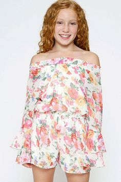 b3f936ac04ff A smocked stretch is on the neckline and allows her to wear the look off  her shoulder. Tween ...