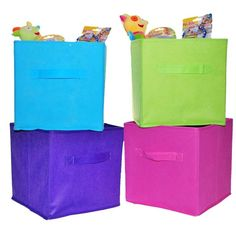CHILDRENS KIDS 4 x FOLDING SQUARE CANVAS COLLAPSIBLE STORAGE BOXES in Home, Furniture & DIY, Storage Solutions, Storage Boxes   eBay