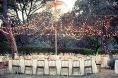 forest wedding reception - outdoor wedding - wedding lighting - fairy light wedding