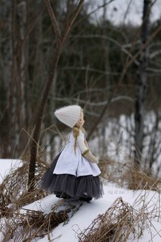 Enjoying the lovely vistas from a top the little hill by the pond, by Fig and Me. Nova, a natural fiber art doll.