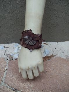Wasteland Wristwatch Cuff -- leather steampunk burning man wasteland weekend tribal fusion belly dance amazon larp barbarian apocalyptic