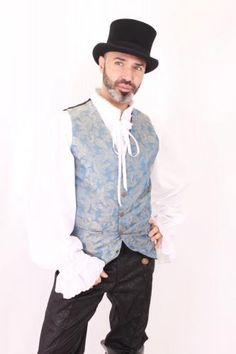 MWCPA04 - TURQUOISE PAISLEY LONG WAISTCOAT | Men Steampunk | Phaze Clothing