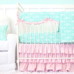 Delilah's Pink and Aqua Damask Ruffle Baby Bedding