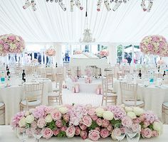 Beautiful Ivory and white wedding with pink flowers, white baby grand piano @TheAngelsEvents