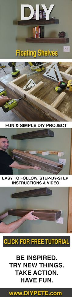 Learn how to make Wood Floating Shelves with DIY Pete! Simple, affordable project that looks great. Check out the video, post, and free plans here: http://DIYPete.com/FloatingShelves