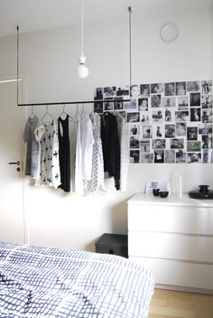 Love the clothes storage from the ceiling