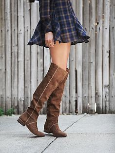 Grandeur Over the Knee Boot | Supple over-the-knee boots, featuring Portuguese suede, hand-stitched detailing, and facing side zips. A sumptuous and grandiose style.  *By Free People