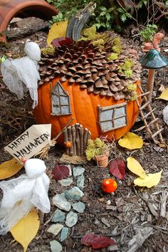 Kids will love this easy craft that turns a pumpkin into a gnome house perfect for Halloween.                                                                                                                                                                                 More