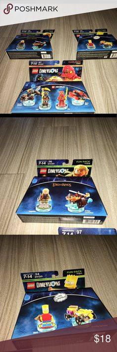 Lego dimensions three-piece fun pack team pack NIP Thank you for viewing my listing, for sale is a three-piece, a lot, of Lego dimensions. You will receive the following pieces, they're all brand-new in the package.  Lord of the rings number 71219  The Simpsons Bart Simpson Number 71211  Ninjago Number 71207 Lego Accessories