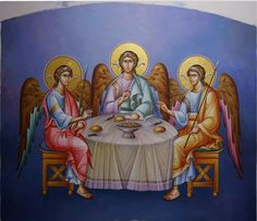 Icon of the Holy Trinity aka Hospitality of Abraham. Religious Paintings, Orthodox Icons, Painting & Drawing, Holi, Saints, Religion, Sculptures, Princess Zelda, Drawings