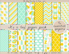 SALE! Perfect for your baby shower or any baby related DIY project or party! Baby boy digital #scrapbooking paper in yellow and aqua blue.  #Scrapbooking #printable papers or #patterns for #crafts, #journaling, party organization and decor or any #DIY projects. 40% OFF with #coupon code HAPPY40