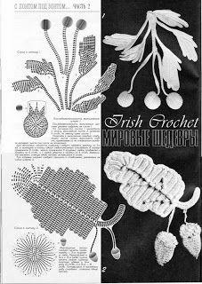Blätter und Blüten häkeln -  irish crochet motifs