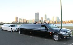 The black Merc limo and white Chrysler in South Perth for a school ball photo shoot