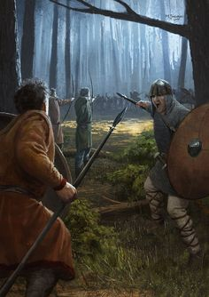 Carolingian forest melee by EthicallyChallenged.  DeviantART   Painted for Medieval Warfare Magazine in February