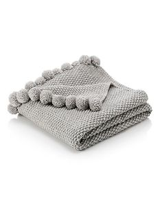 Pom-Pom Knitted Throw Home