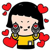 Sticker Mobile Girl, MiM Pop-Up Stickers 100 coins - https://www.line-stickers.com/mobile-girl-mim-pop-up-stickers/