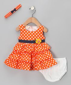 Take a look at this Orange Polka Dot Ruffle Dress Set - Infant by the Silly Sissy on #zulily today!