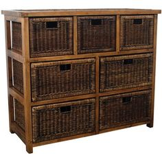 Livingston Wood and Wicker 7 Drawer Storage Chest, Cabinet, Dresser, Brown
