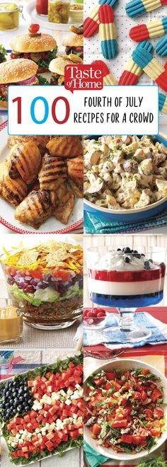 100 Fourth of July Recipes For A Crowd Fire up the grill and try one of our recipes, perfect for a crowd, at your next summer barbecue! 4th Of July Cake, 4th Of July Desserts, Fourth Of July Food, 4th Of July Celebration, 4th Of July Party, 4th Of July Food Sides, Fourth Of July Recipes, Patriotic Party, Tilapia