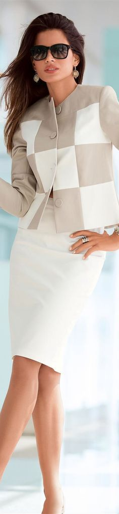 White and Beige Skirt Suit