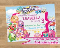 Shop for on Etsy, the place to express your creativity through the buying and selling of handmade and vintage goods. Shopkins Invitations, Printable Invitations, Birthday Invitations, Rsvp, Diy, Shopkins Printable, Handmade Gifts, Invite, Baskets