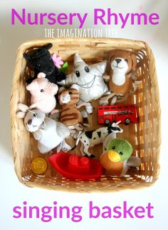Rhyme Singing Basket: baby and toddler play Nursery rhyme singing basket for preschoolers. I love this idea! Nursery rhyme singing basket for preschoolers. I love this idea! Rhyming Activities, Music Activities, Infant Activities, Nursery Rhyme Activities, Activities For 2 Year Olds At Nursery, Creative Activities For Toddlers, Cognitive Activities, Childcare Activities, Preschool Music