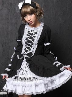 Black and White Long Sleeve Gothic Lolita Spring Dress