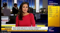 Lady in red: Kirsty Gallacher took the early evening shift as the transfer activity hotted... Kirsty Gallacher, E Day, Blackpool, Pale Skin, Exeter, Celebs, Celebrities, Preston, Sports News