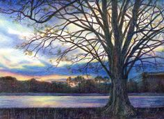 Veronica Winters - Sunset at the Lake (Colored Pencil)