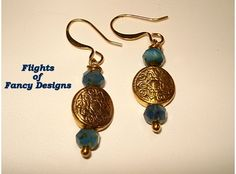 Gold Coin and Azure Blue Earrings $10.00