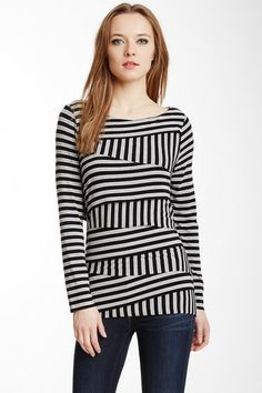 Calais Stripe Bandage Long Sleeve Tee by Vince Camuto on @HauteLook