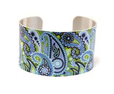 Cuff bracelet, women's jewellery bangle in blue violet olive paisley. C136 £19.50