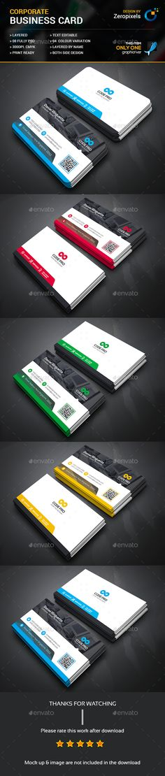Buy Corporate Business Card by zeropixels on GraphicRiver. FEATURES: Easy Customizable and Editable Business card in with bleed CMYK Color Design in 300 DPI Resolut.