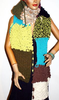 handmade knitting scarf Shawls, Bunt, Scarves, Colours, Knitting, Handmade, Ponchos, Scarf Crochet, Handarbeit