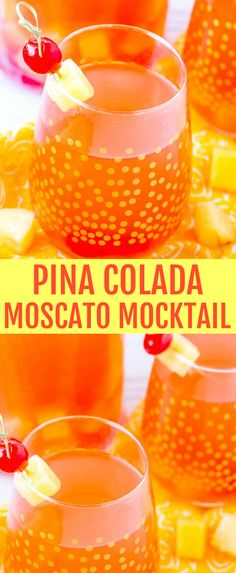 This easy and refreshing Pina Colada Moscato Mocktail is a fruity and flavorful non alcoholic drink for those who prefer a little lighter flavor. #mocktail #moscato #pinacolada #drinks #pineapple #coconut