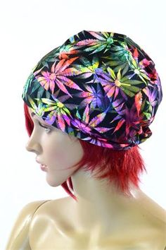Northern Lights Sativa Print UV Glow Beanie Hat