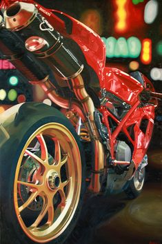 "Items similar to Giclee Print of Motorcycle Oil Painting Ducati 1098 ""Nine Foot Ducati"" on Etsy Triumph Motorcycles, European Motorcycles, Custom Motorcycles, Custom Bikes, Cars And Motorcycles, Bobbers, Motocross, Mopar, Ride Out"