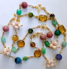 Pink Gold Gemstone Statement Necklace Long by PorcelainIndustry, $260.00